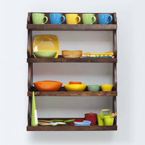 Gusteau Kitchen Wall Rack (Walnut Finish) by Urban Ladder - Front View Design 1 - 209