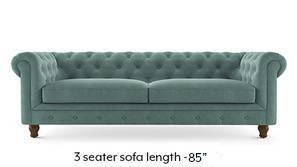 Winchester Fabric Sofa (Dusty Turquoise Velvet)