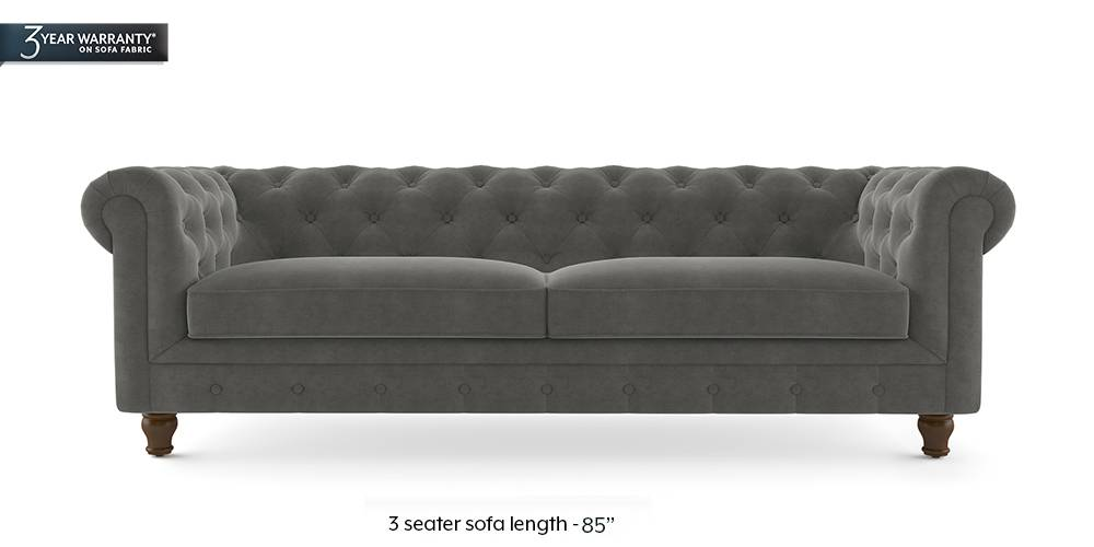 Winchester Fabric Sofa (Ash Grey Velvet) (2-seater Custom Set - Sofas, None Standard Set - Sofas, Fabric Sofa Material, Regular Sofa Size, Regular Sofa Type, Ash Grey Velvet) by Urban Ladder