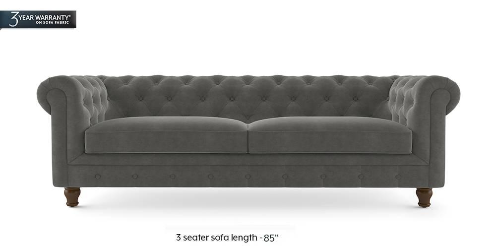 Winchester Fabric Sofa (Ash Grey Velvet) (2-seater Custom Set - Sofas, None Standard Set - Sofas, Fabric Sofa Material, Regular Sofa Size, Regular Sofa Type, Ash Grey Velvet) by Urban Ladder - - 208844