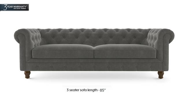 Winchester Fabric Sofa (Ash Grey Velvet) (2-seater Custom Set - Sofas, None Standard Set - Sofas, Fabric Sofa Material, Regular Sofa Size, Regular Sofa Type, Ash Grey Velvet)