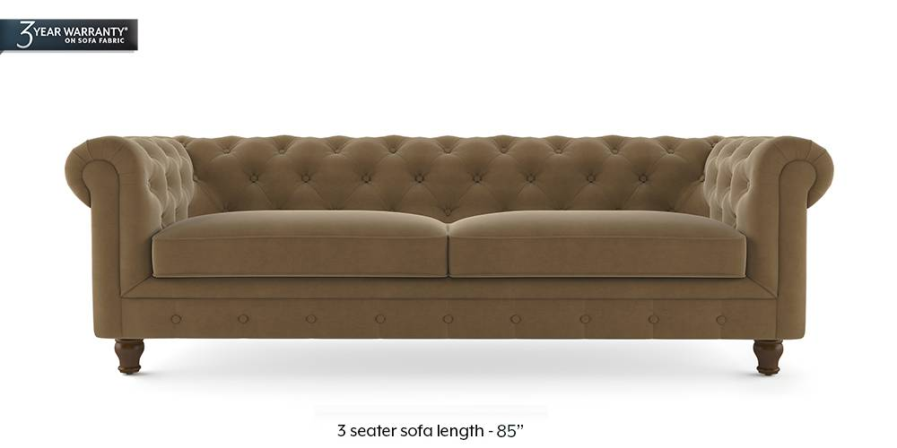 Winchester Fabric Sofa Tuscan Tan Velvet 1 Seater Custom Set Sofas