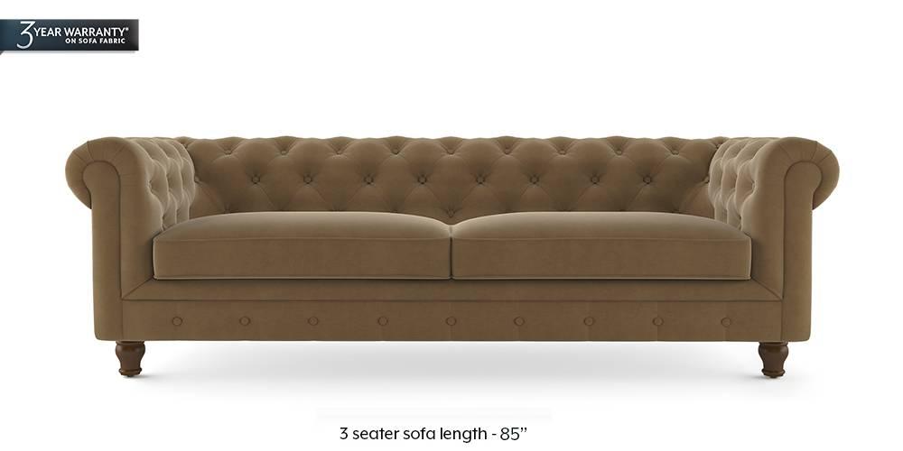 Winchester Fabric Sofa (Fawn Velvet) (1-seater Custom Set - Sofas, None Standard Set - Sofas, Fabric Sofa Material, Regular Sofa Size, Regular Sofa Type, Fawn Velvet) by Urban Ladder - - 208863