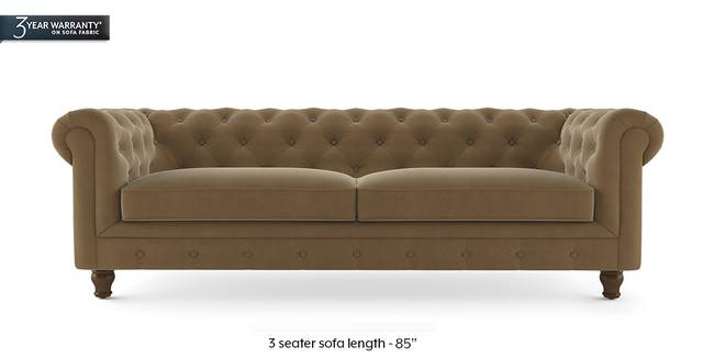 Winchester Fabric Sofa (Fawn Velvet) (1-seater Custom Set - Sofas, None Standard Set - Sofas, Fabric Sofa Material, Regular Sofa Size, Regular Sofa Type, Fawn Velvet)