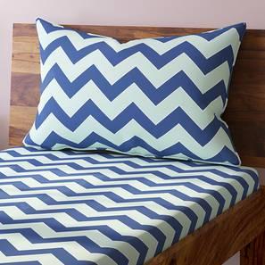 Chevron Bedsheet Set (Blue, Single Size) by Urban Ladder