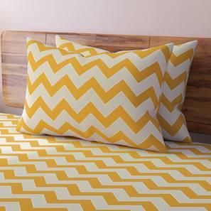 Chevron Bedsheet Set (Yellow, Double Size) by Urban Ladder