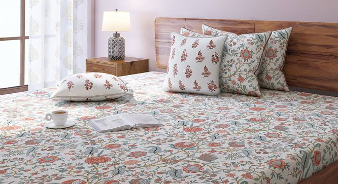 Calico Bedsheet Set (King Size, Peach Pattern) by Urban Ladder