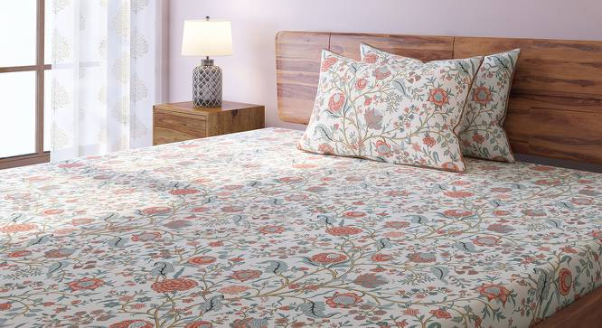 Calico Bedsheet Set (Double Size, Peach Pattern) by Urban Ladder