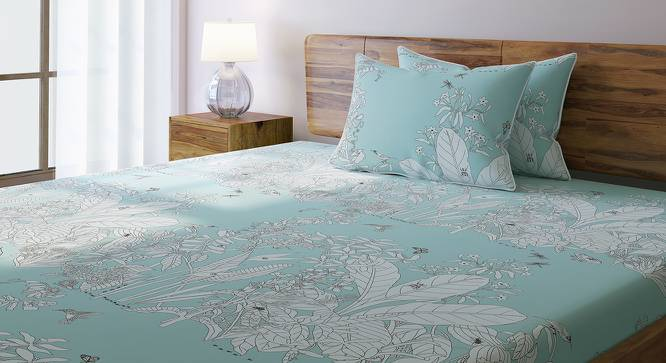 Secret Garden Bedsheet Set (King Size, Contour Blue) by Urban Ladder