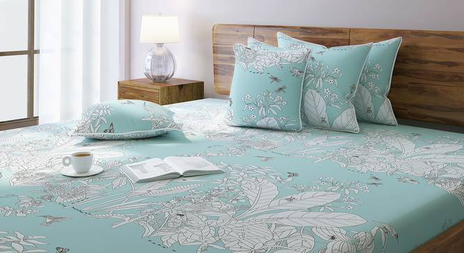 Secret Garden Bedsheet Set (Double Size, Contour Blue) by Urban Ladder