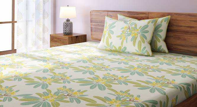 Frangipani Bedsheet Set (Yellow, Double Size) by Urban Ladder