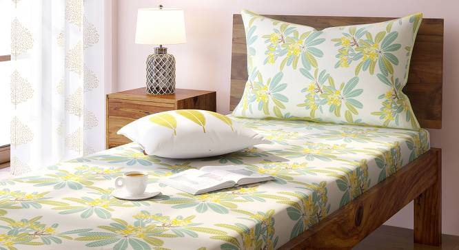 Frangipani Bedsheet Set (Yellow, Single Size) by Urban Ladder