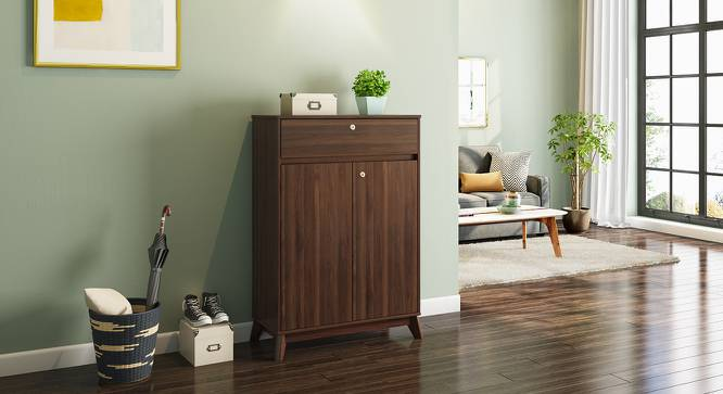 Webster Shoe Cabinet (Walnut Finish, 15 Pair Capacity, 2 Door) by Urban Ladder