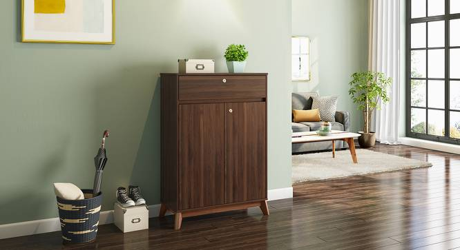 Webster Shoe Cabinet With Lock (Walnut Finish, 15 Pair Capacity) by Urban Ladder - Design 1 Full View - 210163