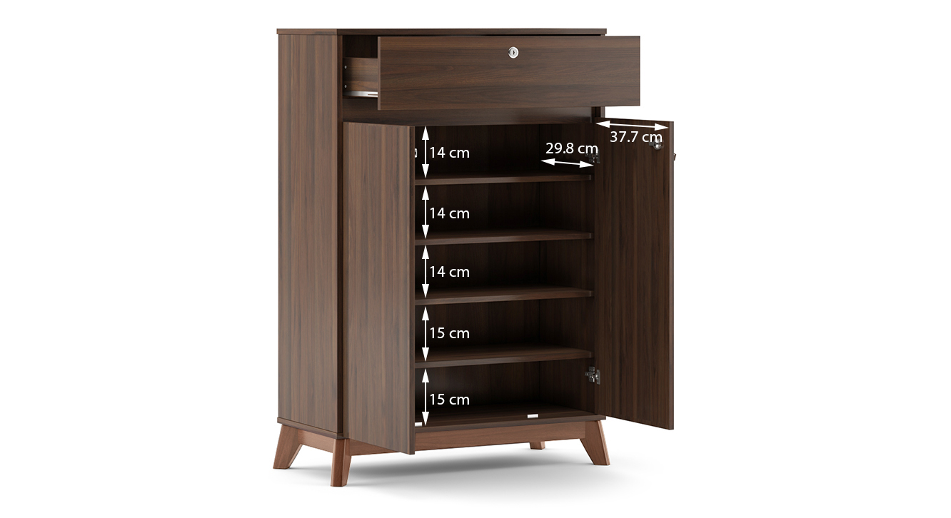 Webster shoe cabinet with lock walnut finish 15 pair capacity dim2
