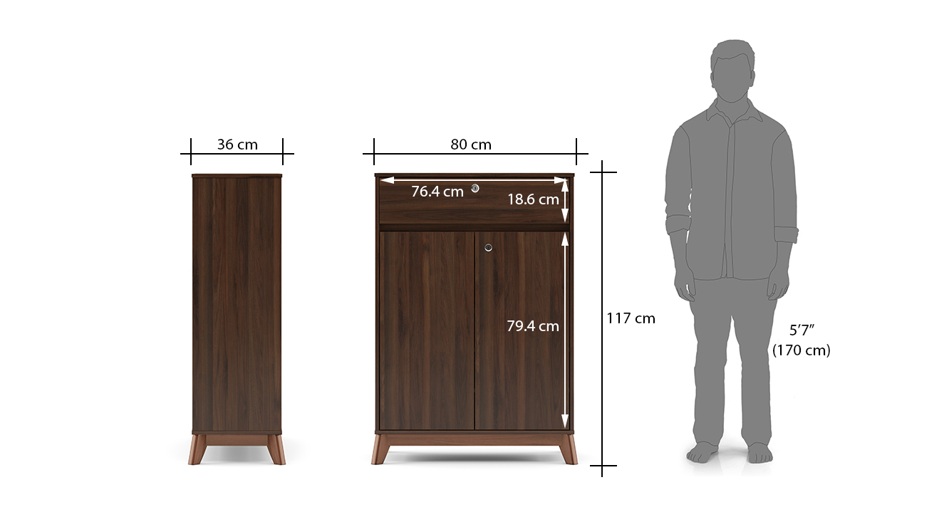 Webster shoe cabinet with lock walnut finish 15 pair capacity dim1