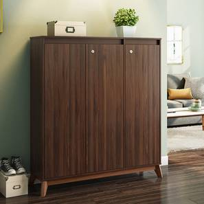 Webster Shoe Cabinet With Lock (Walnut Finish, 32 Pair Capacity) by Urban Ladder - Design 1 Full View - 210170