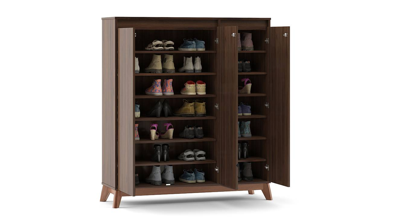 Webster shoe cabinet with lock walnut finish 32 pair capacity 2