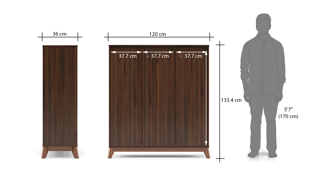 Webster shoe cabinet with lock walnut finish 32 pair capacity dim1