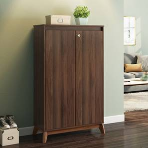 Webster Shoe Cabinet With Lock (Walnut Finish, 24 Pair Capacity) by Urban Ladder - Picture - 210272