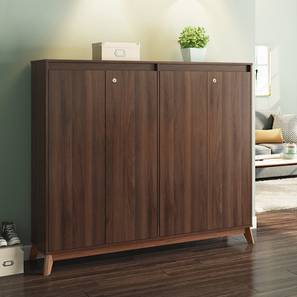 Webster Shoe Cabinet With Lock (Walnut Finish, 48 Pair Capacity) by Urban Ladder - Design 1 Full View - 210280
