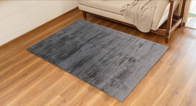 "Rubaan Viscose Rug (152 x 244 cm  (60"" x 96"") Carpet Size, Sliver Grey) by Urban Ladder - Design 1 Full View - 210293"