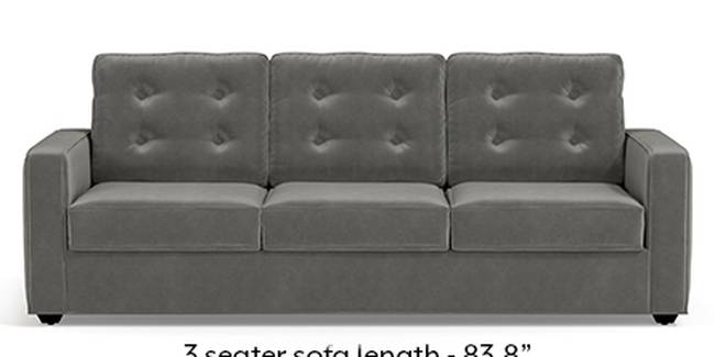 Apollo Sofa Set (Fabric Sofa Material, Regular Sofa Size, Soft Cushion Type, Regular Sofa Type, Master Sofa Component, Ash Grey Velvet, Tufted Back Type, Regular Back Height)