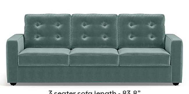 Apollo Sofa Set (Fabric Sofa Material, Regular Sofa Size, Soft Cushion Type, Regular Sofa Type, Master Sofa Component, Dusty Turquoise Velvet, Tufted Back Type, Regular Back Height)
