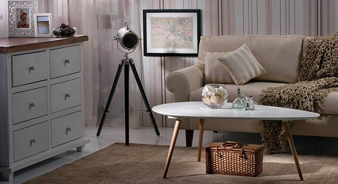 Belfast Tripod Spotlight (Black Base Finish, Cylindrical Shade Shape, Nickel Shade Color) by Urban Ladder - - 21219
