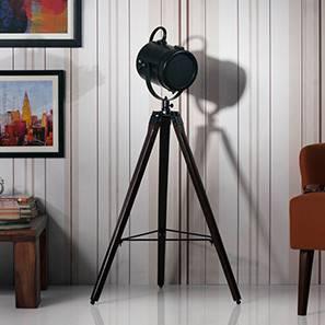 Belfast Tripod Spotlight (Mahogany Base Finish, Black Shade Color, Cylindrical Shade Shape) by Urban Ladder - - 21226