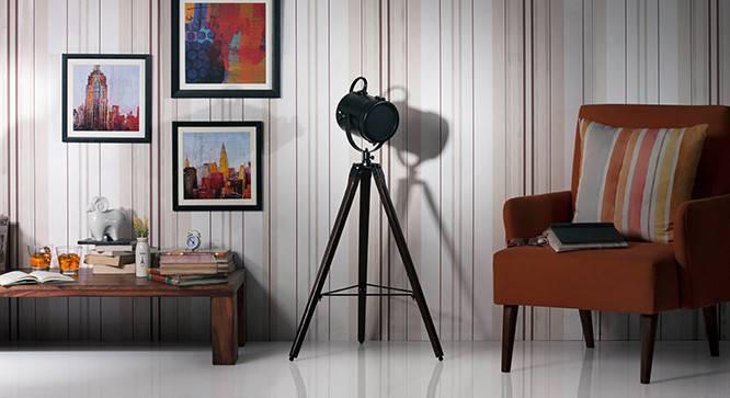 Belfast Tripod Spotlight (Mahogany Base Finish, Black Shade Color, Cylindrical Shade Shape) by Urban Ladder - - 21228
