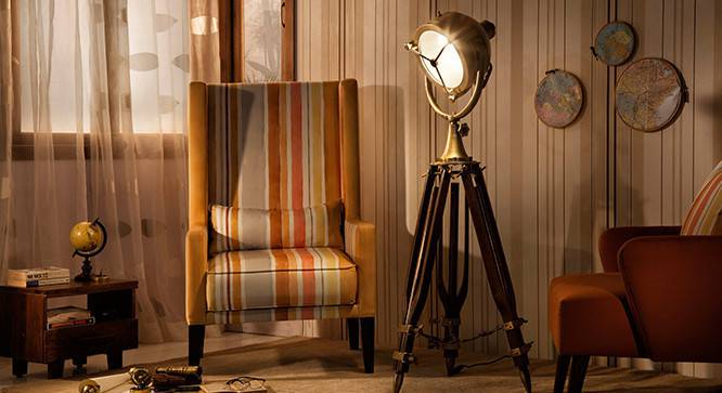 Missouri Tripod Spotlight (Natural Base Finish, Brass Shade Color, Barrel Shade Shape) by Urban Ladder
