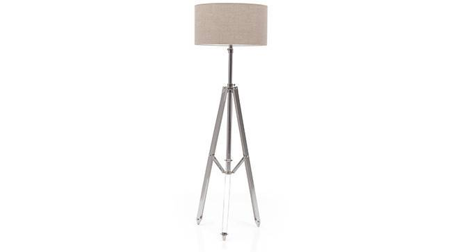 Issac Tripod Floor Lamp (Shiny Nickel Base Finish, Natural Shade Color, Drum Shade Shape) by Urban Ladder - - 21247