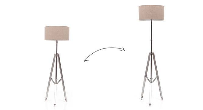 Issac Tripod Floor Lamp (Shiny Nickel Base Finish, Natural Shade Color, Drum Shade Shape) by Urban Ladder - - 21248