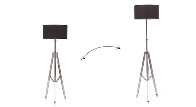 Issac Tripod Floor Lamp (Shiny Nickel Base Finish, Black Shade Color, Drum Shade Shape) by Urban Ladder - - 21258