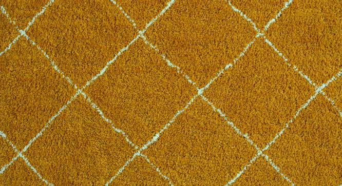 "Bloomfield Patterend Shaggy Carpet (48"" x 72"" Carpet Size, Mustard) by Urban Ladder"