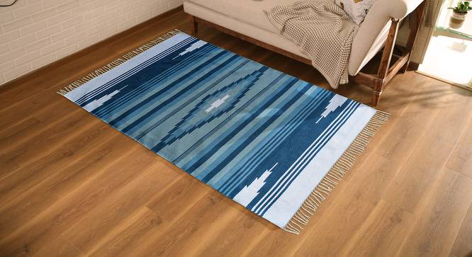 "Malatya Dhurrie (Blue, 91 x 152 cm  (36"" x 60"") Carpet Size) by Urban Ladder - Design 1 Full View - 215998"