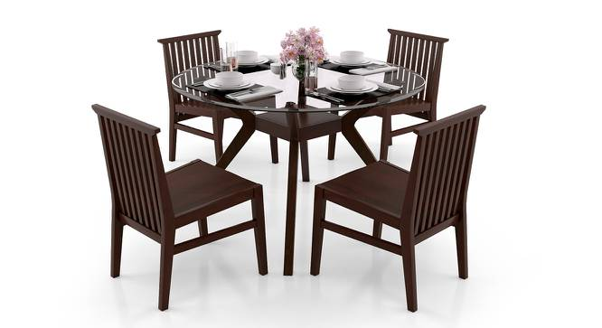 Wesley - Angus 4 Seater Dining Table Set (Dark Walnut Finish) by Urban Ladder