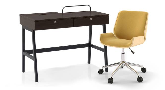 Terry - Abigail Study Set (Wenge Finish, Yellow) by Urban Ladder - Design 3 Full View - 216061