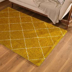 """Bloomfield Patterened Shaggy Carpet (48"""" x 72"""" Carpet Size, Mustard) by Urban Ladder"""