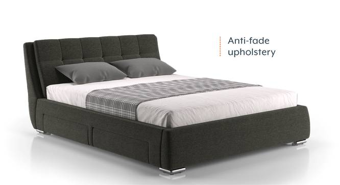 Stanhope Upholstered Storage Bed (Queen Bed Size, Charcoal Grey) by Urban Ladder - Design 1 Half View - 218147