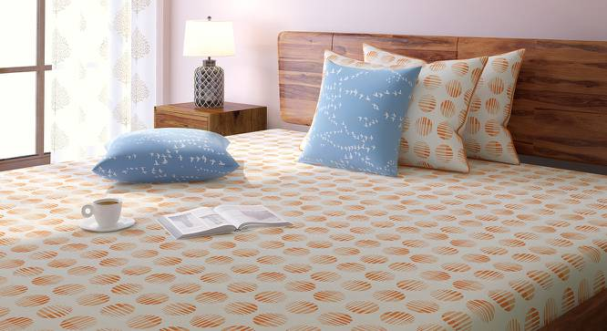Skyscape Bedsheet Set (King Size, Peach, Eos Pattern) by Urban Ladder