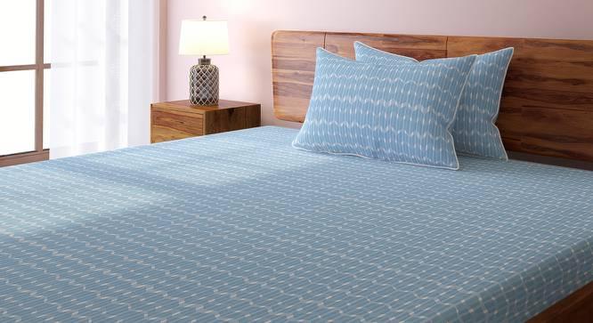 Overlay Bedsheet Set (Blue, King Size, Akimbo Pattern) by Urban Ladder