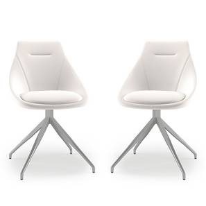 Doris Swivel Dining Chairs - Set Of 2 (White, Leatherette Material) by Urban Ladder - Design 1 - 218899