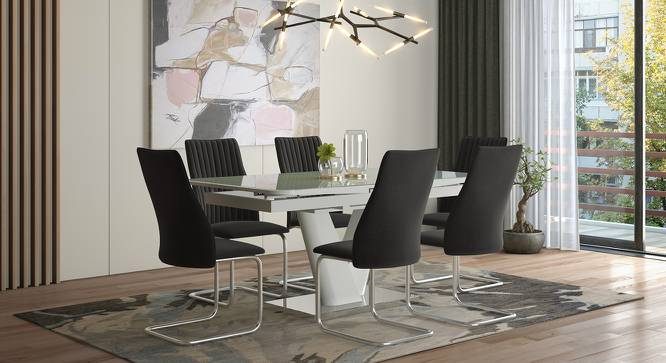 Ingrid Dining Chairs - Set Of 2 (Dark Grey, Fabric Material) by Urban Ladder