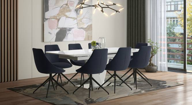 Caribu 6 to 8 Extendable - Doris (Fabric) 8 Seater Dining Table Set (Blue) by Urban Ladder