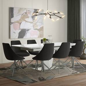 Caribu 6 to 8 Extendable - Doris (Fabric) 8 Seater Dining Table Set (Dark Grey) by Urban Ladder - Design 1 - 218981