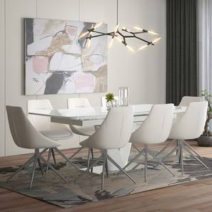 Caribu 6 to 8 Extendable - Doris (Leatherette) 8 Seater Dining Table Set (White) by Urban Ladder