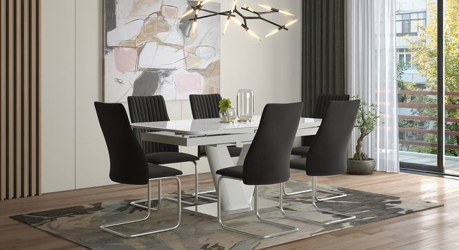 Caribu 6 to 8 Extendable - Ingrid (Fabric) 6 Seater Dining Table Set (Dark Grey) by Urban Ladder