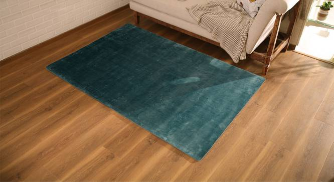 "Rubaan Viscose Rug (122 x 183 cm  (48"" x 72"") Carpet Size, Pastel Turquoise) by Urban Ladder - Design 1 Full View - 219088"
